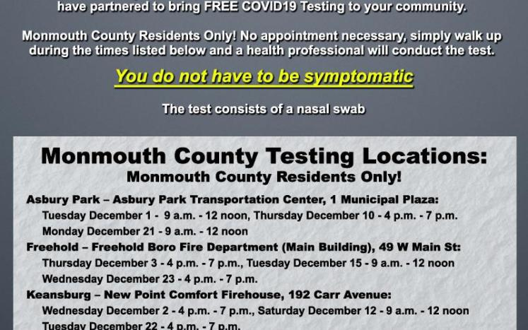 List of testing sites in Monmouth County